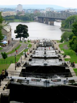 The eight locks at the Rideau Canal have a lift of 79 ft and take 1.5 hours