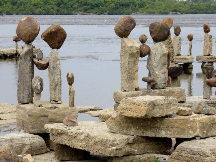 2014 Solo Travel Highlights - Ottawa Canada - Remic Rapids rock art along the Ottawa River - an annual art event