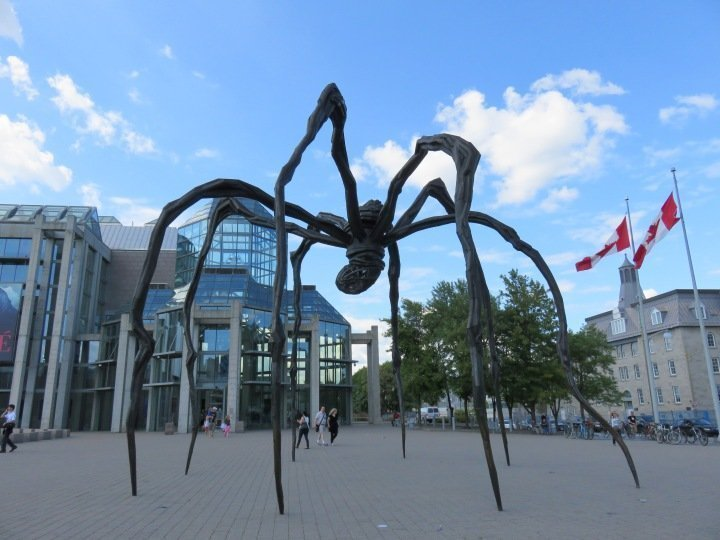 Giant spider sculpture in Ottawa Ontario Canada - Public Art in Ottawa - Maman by Louise Bourgeois