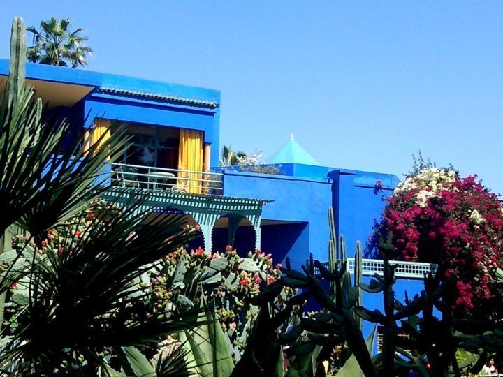 Brilliant blue of Jardin Majorelle - gardens and museum open daily