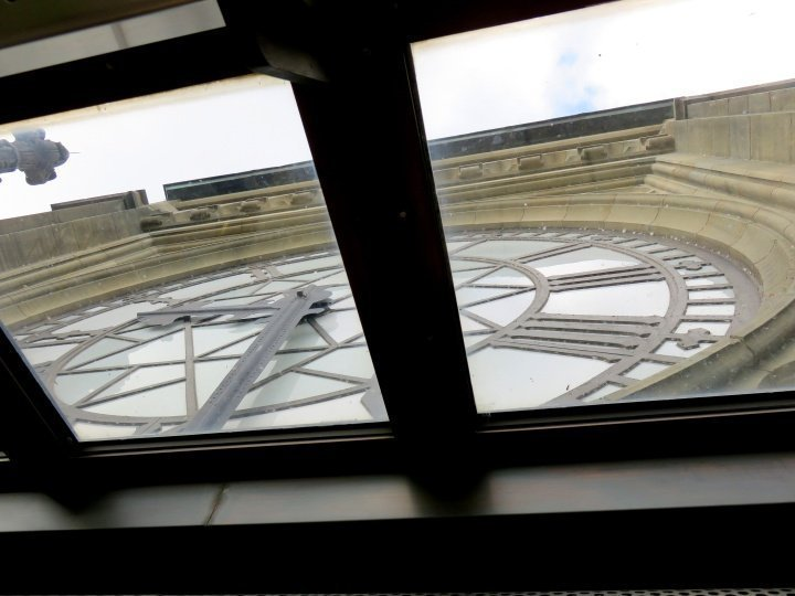 Peace Tower Parliament Hill Ottawa Canada - clock face viewed from observation deck - beautiful views of Ottawa and Gatineau
