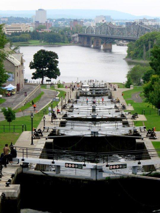 Ottawa Locks UNESCO World Heritage Site - 8 locks viewed from Wellington Street