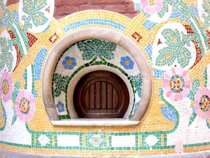 Mosaic tile column at Palau de la Musica in La Ribera district Barcelona