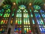 Stained glass windows at Sagrada Familia in Barcelona