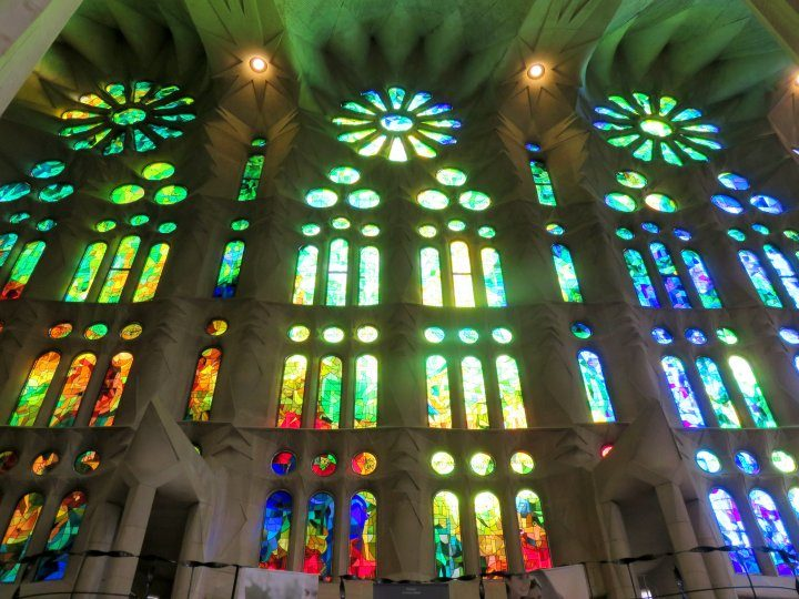 Stained glass windows at Sagrada Familia in Barcelona