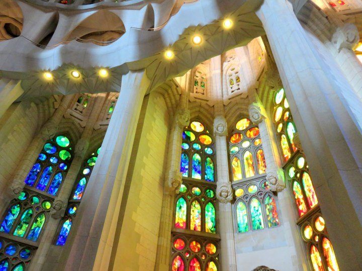 Barcelona Sagrada Familia stained glass - Barcelona's most visited tourist attraction is Sagrada Familia