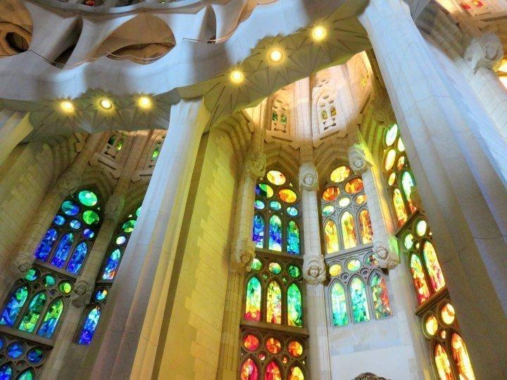 Barcelona Sagrada Familia stained glass - Barcelona's most visited tourist attraction is Sagrada Familia