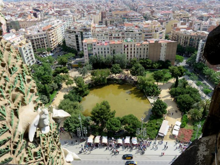 View from the tower of Sagrada Familia - architect Antoni Gaudi's most famous work in Barcelona Catalonia Spain