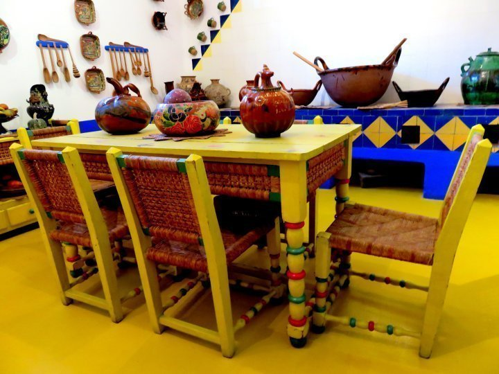 Frida Kahlo Museum - Coyoacan Mexico City - brilliant blue and yellow kitchen