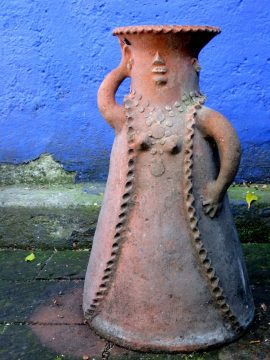 Clay sculpture of a female figure - courtyard of Frida Kahlo Museum - Coyoacan Mexico City