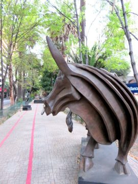 La Condesa neighborhood Mexico City - public art is plentiful on Amsterdam Avenue featuring sculptures by Jose Sacal