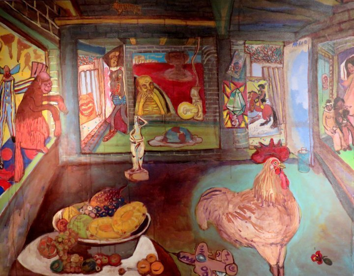 Contemporary art in Mexico City - visit Mueso de Arte Moderno - this photo features a painting by artist Helio Montiel title Frutas