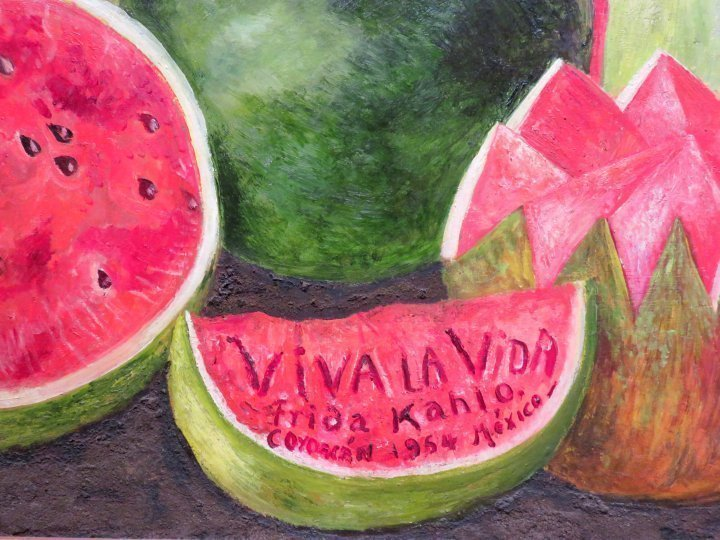 Museo Frida Kahlo Mexico City features her last painting inscribed 'Viva la Vida Frida Kahlo Coyoacan 1954 Mexico'