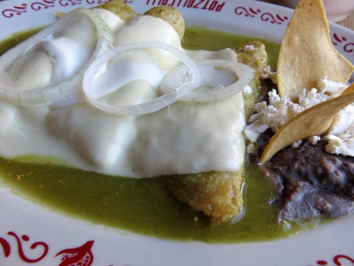 Mexico City breakfast enchiladas verde