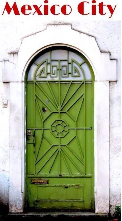Mexico City - Green door in La Condesa neighborhood