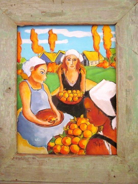 Austin Texas artist Jeanne Philquist - painting of three women with oranges