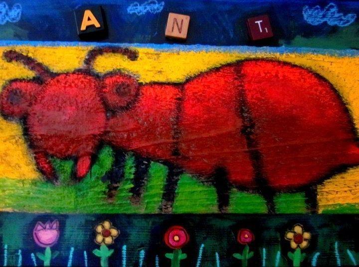 Folk art by Austin TX artist Terrell Powell - Ant painting on wood - mixed media