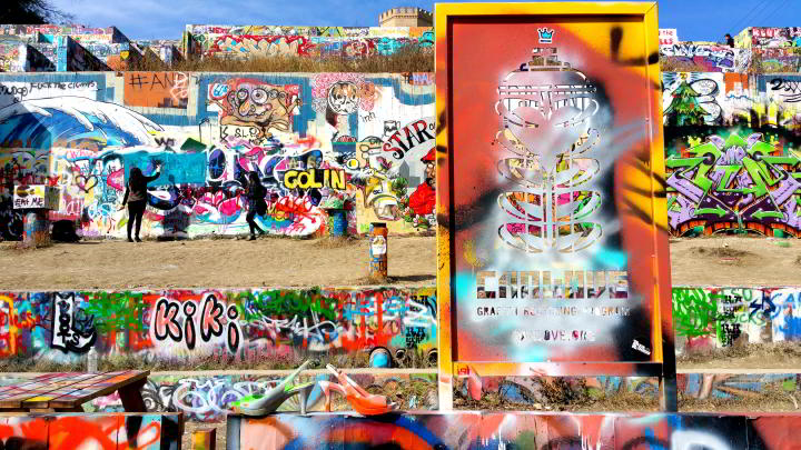 Graffiti wall Austin Texas - concrete canvas at the Castle Hill graffiti park - Baylor and 11 Street in central Austin TX
