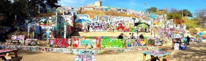 Graffiti wall Austin Texas - Castle Hill - Baylor and 11 Street in central Austin - ever changing graffiti art