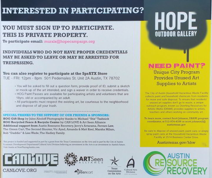 Graffiti wall Austin Texas - sign up information for graffiti artisits