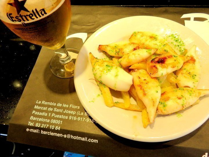 Enjoy seafood and beer at Bar Clemen's in La Boqueria Market Barcelona's largest food market