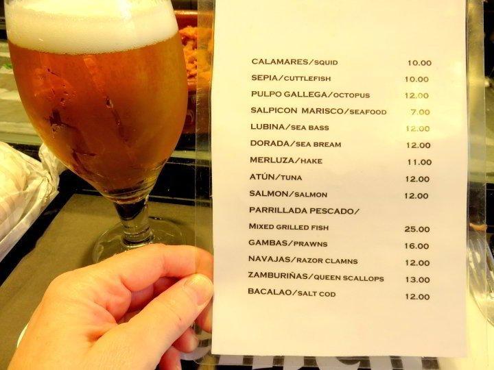 La Boqueria Market - Bar Clemen's seafood and beer in Barcelona's biggest market