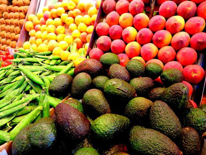 La Boqueria Market in Barcelona  - Las Ramblas district  - fruits, veggies, and more