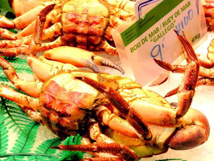La Boqueria Market Barcelona Las Ramblas neighborhood - crab on display at the fish market