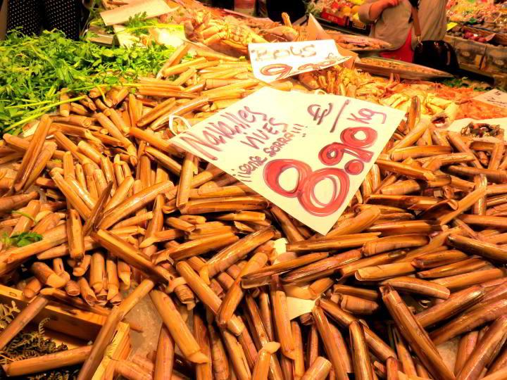 La Boqueria Market Barcelona - fish market features a huge array of seafood to choose from - Las Ramblas neighborhood