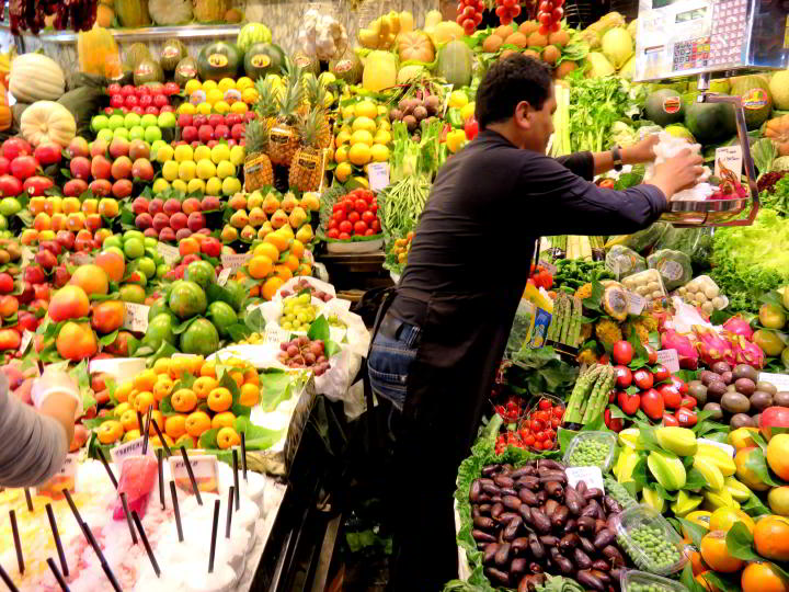 La Boqeria Market Barcelona features beautiful fresh fruit in an abundance of choices