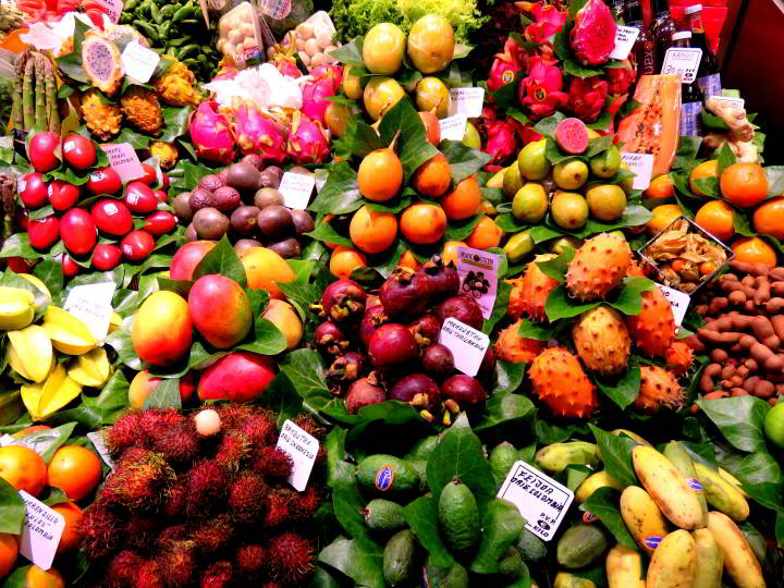 La Boqueria Market in Barcelona features a huge selection of fresh fruits and veggies