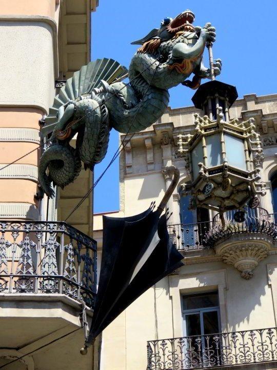 Las Ramblas Barcelona - Dragon  - old umbrella factory - saw this on my way to La Boqueria Market