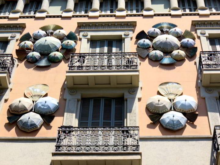 Facade of former umbrella shop along Las Ramblas in Barcelona