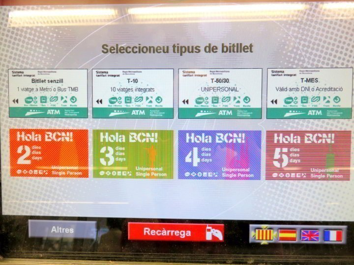 Getting Around in Barcelona - metro offers many ticket options for travelers from single ticket to monthly pass - also 2 - 5 day passes or 10 trip pass