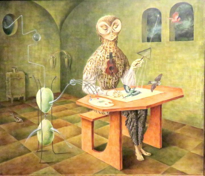 Mexico City solo trip visit to Museo de Bellas Artes in the fabulous Palacio de Bellas Artes building - shown here is Remedios Varo's painting Creation of the Birds - 1957