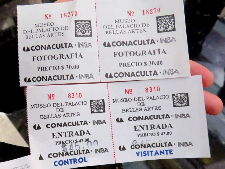 Mexico City Solo Trip - Museo de Bellas Artes total cost for tickets for entry and photographer pass was 75 pesos (less than $6 USD)