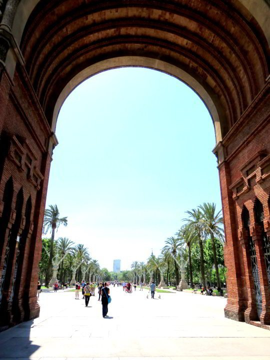 Under the arch of the Arc de Triomf with a view of the Passeig de Lluis Companys leading to Parc Ciutadella