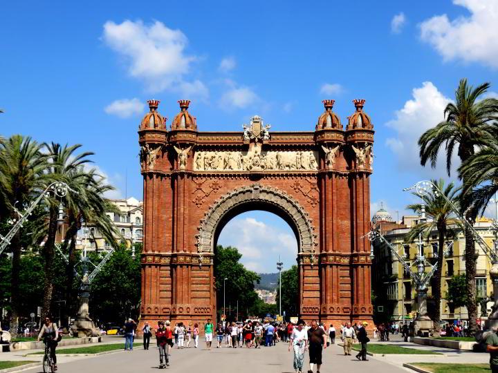 View of Arc de Triomf Barcelona as seen from Passeig de Lluis Companys