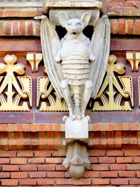Bat sculpture on Arc de Triomf in Barcelona Spain