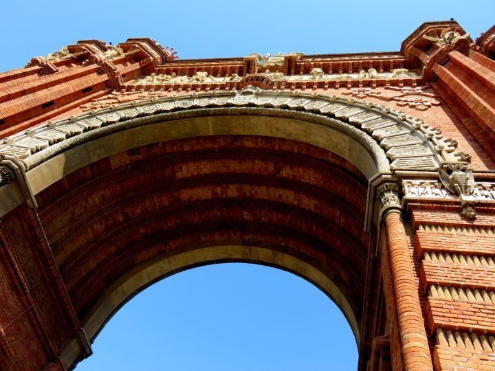 Arc de Triomf in Barcelona - looking up to the sky from under the arch