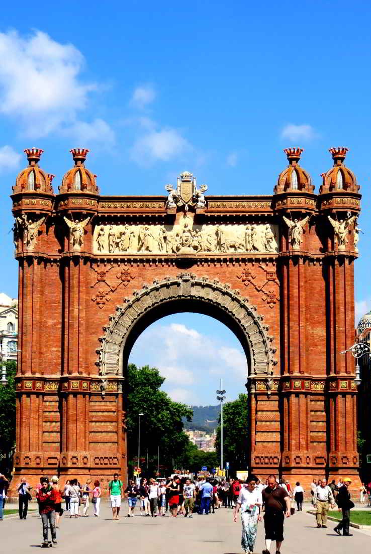 Warm sunny day in Barcelona - Arc de Triomf and blue skies