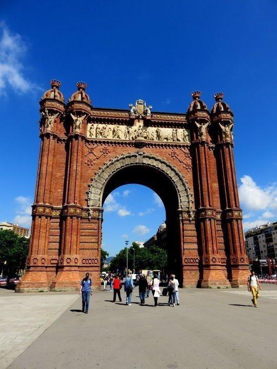 Red brick Arc de Triomf in Barcelona Spain