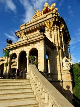 Barcelona Park Ciutadella stairs to Cascada Monumental - extraordinary architecture in Catalonia
