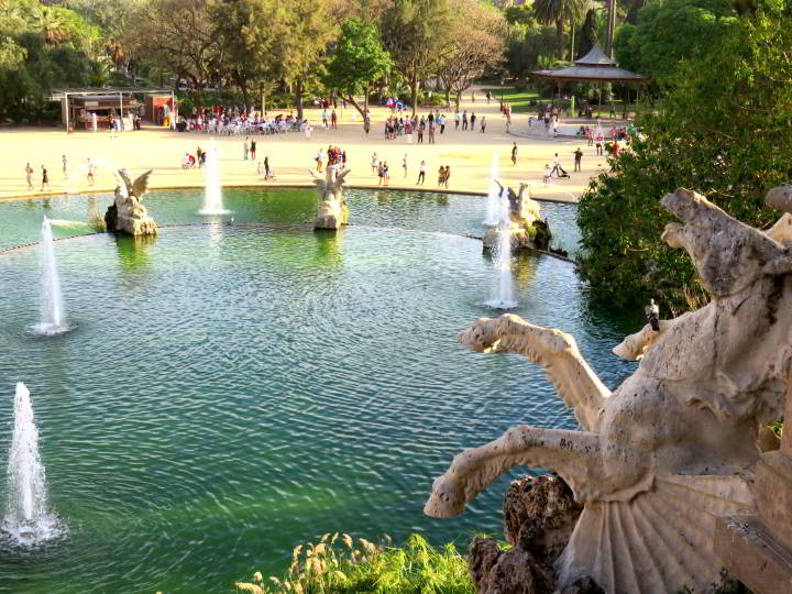 Barcelona Park Ciutadella view from Cascada Monumental - spend a day in the park in La Ribera neighborhood Barcelona Catalonia Spain