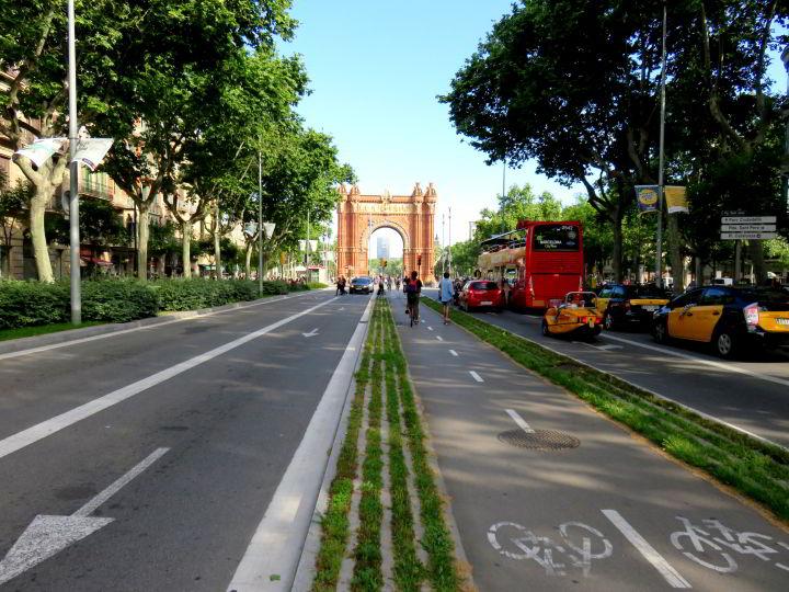 Barcelona Passeig de Sant Joan - Arc de Triomf in the distance
