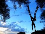 Public art Lloret de Mar Costa Brava - El Salt de L'Angel sculpture by J.A. Aures - located near the Modernist Cemetary - Costa Brava Catalonia
