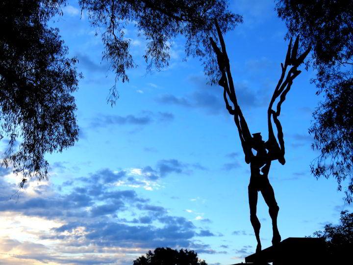 Public art Lloret de Mar Costa Brava - El Salt de L'Angel sculpture by J.A. Aures - located near the Modernist Cemetery - Costa Brava Catalonia