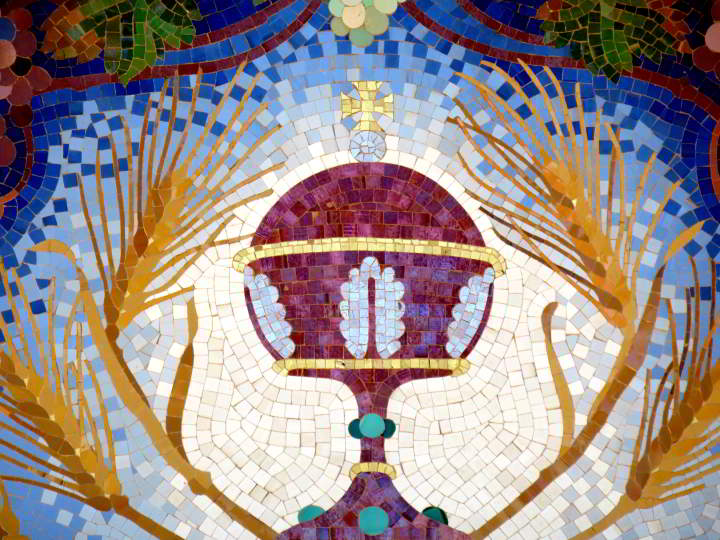 Detail of colorful tile mosaic at Sant Roma church Costa Brava Catalonia