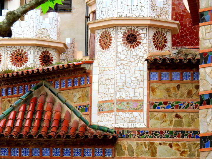 Colorful tiles of Lloret de Mar Parish Church Sant Roma - Costa Brava Catalunya Spain