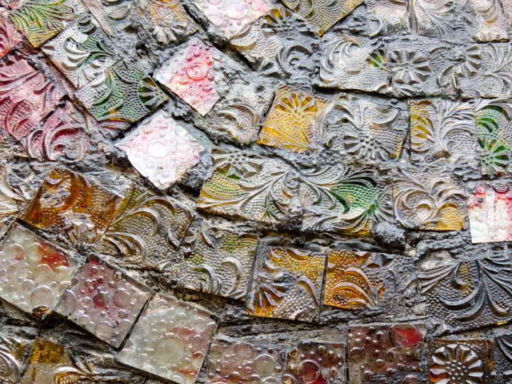 Lloret de Mar mosaic lizard sculpture detail of tiles
